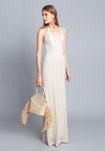 Vestido Tricô Longo, BRANCO OFF WHITE, large.