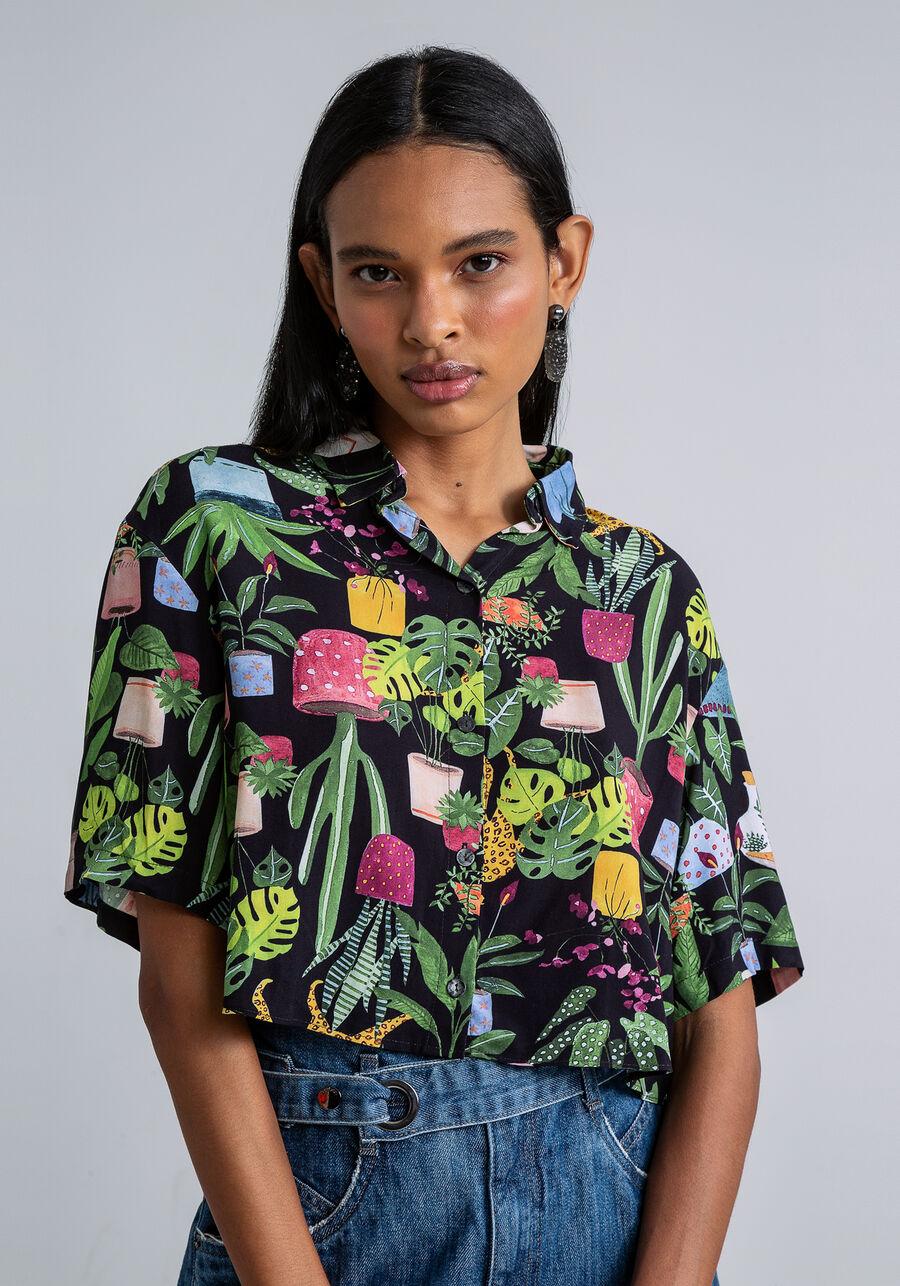 Camisa Manga Curta Cropped Estampada, INSTINTO, large.