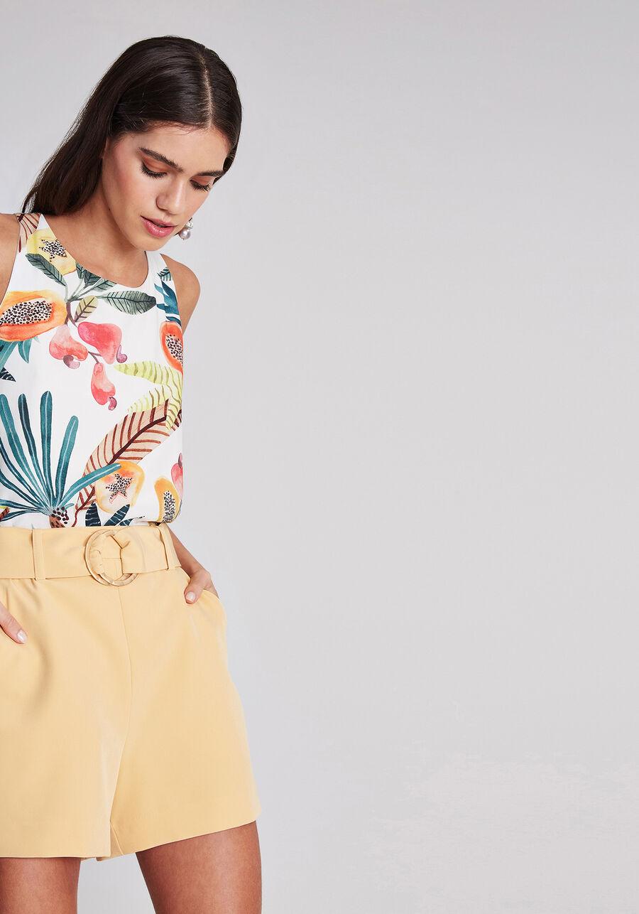 Shorts Cintura Alta com Cinto, , large.