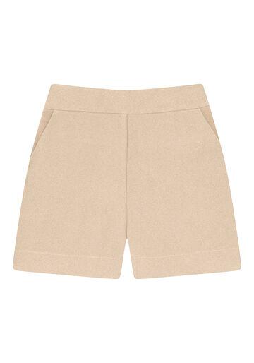Shorts Cintura Alta Minimal, BEGE, large.