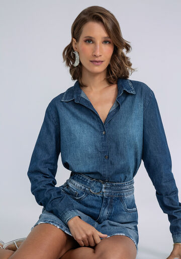 Camisa Jeans Manga Longa, JEANS, large.