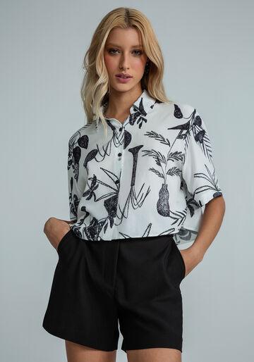 Camisa Manga Curta Cropped Estampada, CONTRASTE, large.