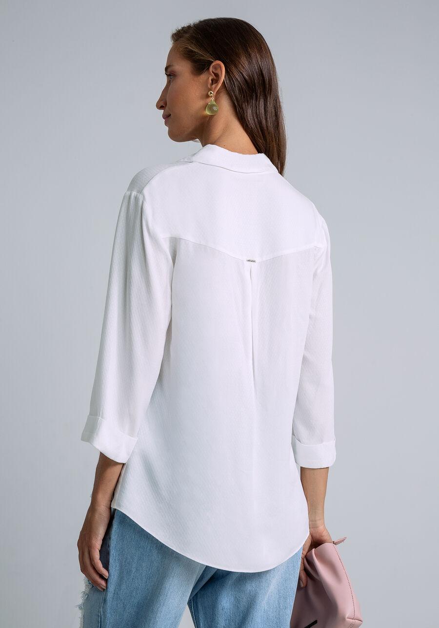 Camisa Manga 3/4 Clássica, OFF WHITE, large.