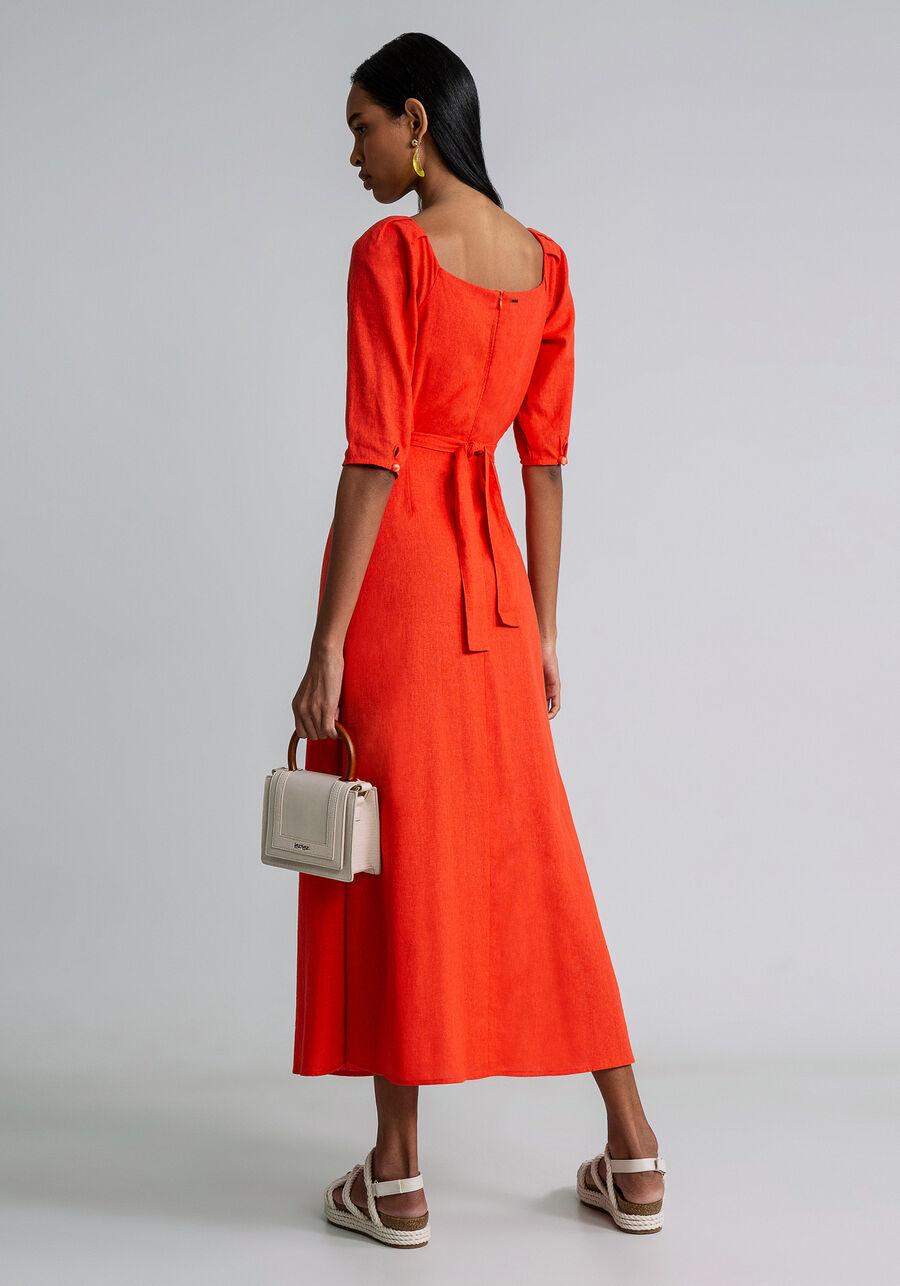 Vestido Mini Recorte Cintura Linho, LARANJA ESSENCE, large.