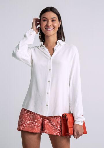 Camisa Manga Longa com Gola, BRANCO OFF WHITE, large.