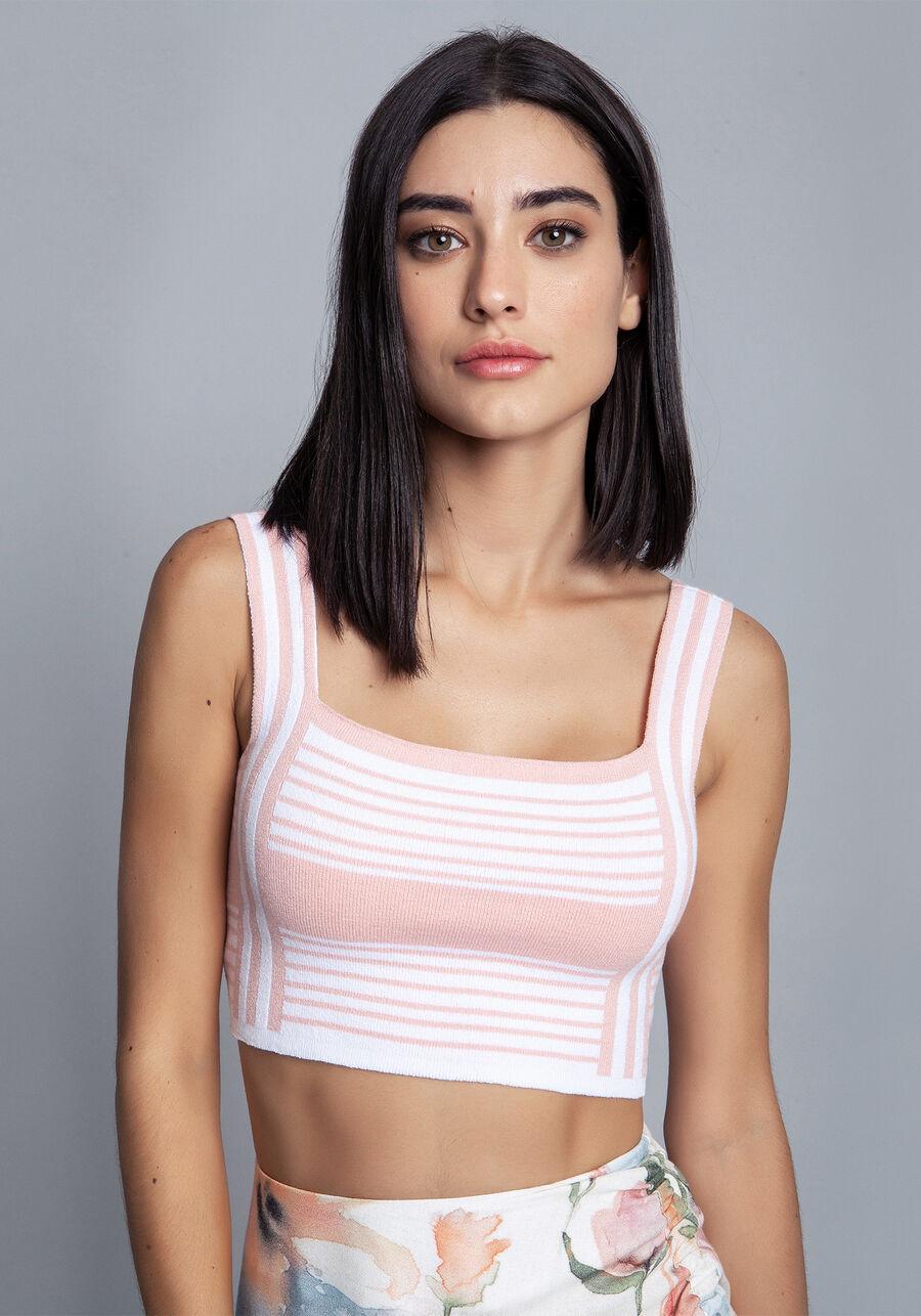 Blusa Tricô Cropped, ROSA, large.