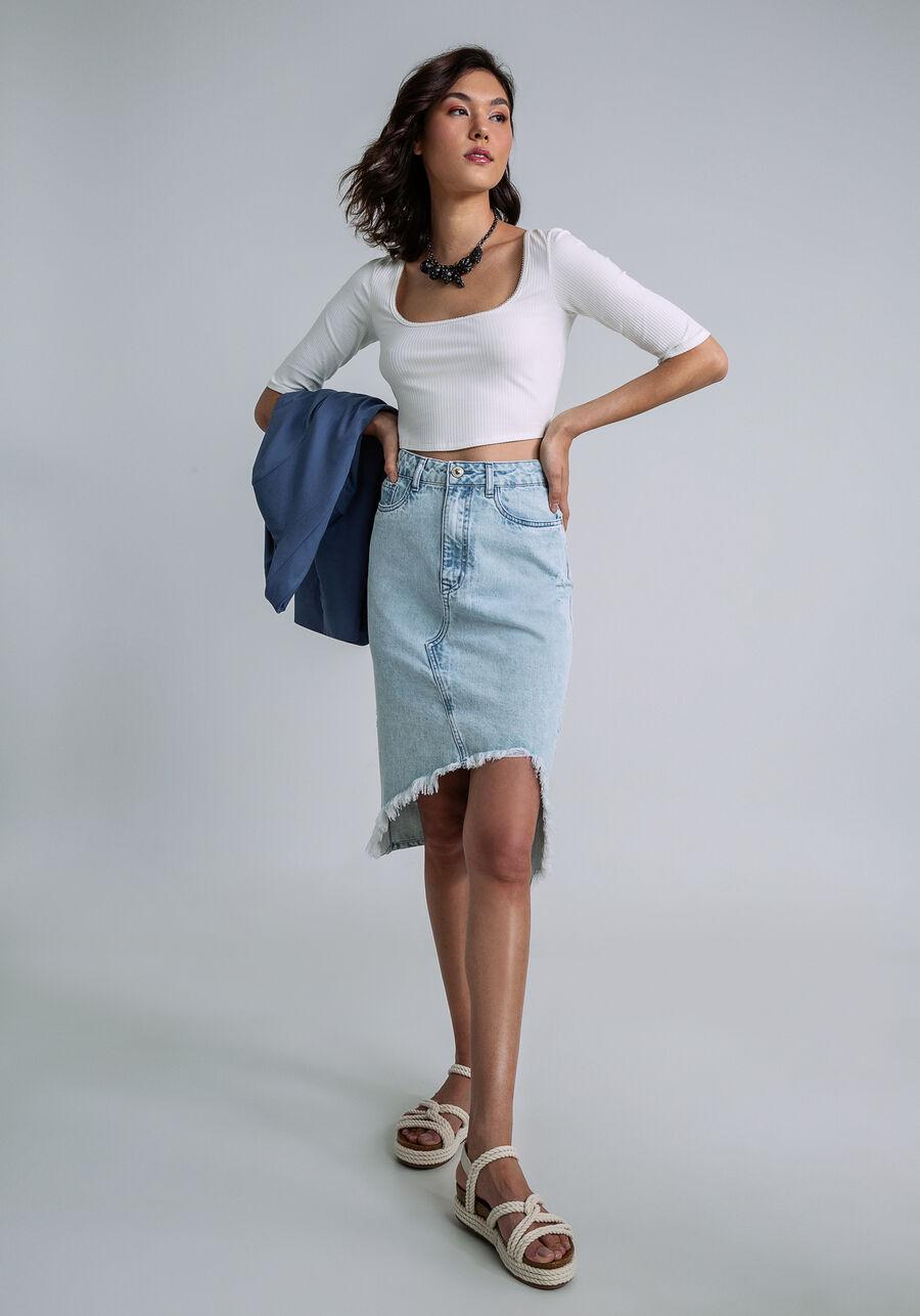 Saia Jeans Midi Assimétrica, JEANS, large.