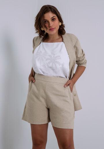 Shorts Cintura Alta em Linho com Bolsos, BEGE ARISONA, large.