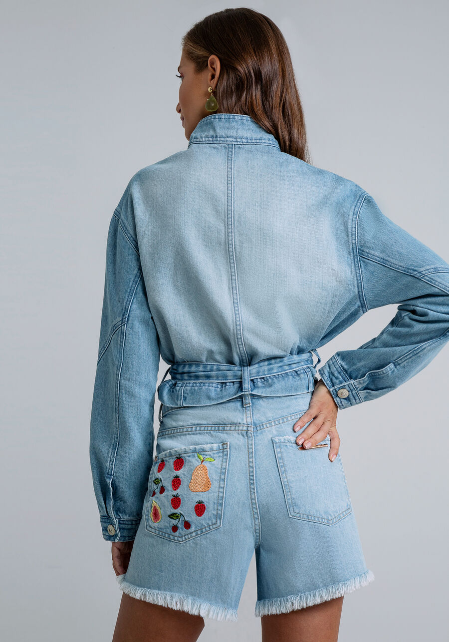 Shorts Hot Pant Bordado Bolso, JEANS, large.