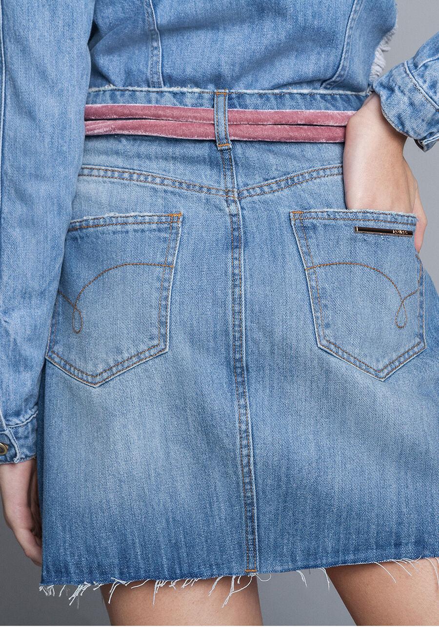 Saia Jeans Cintura Alta Cinto, , large.