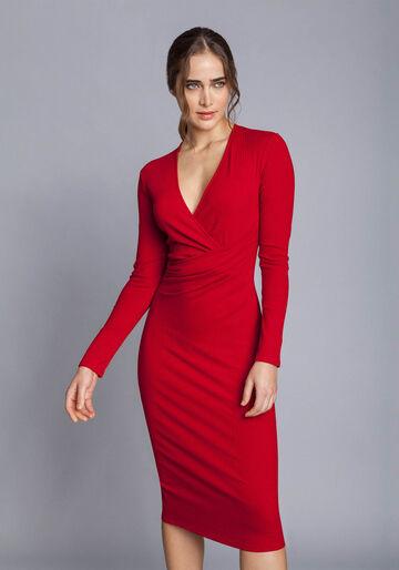 Vestido Mídi Transpassado, VERMELHO, large.