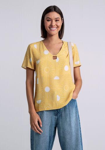 Blusa Decote V Detalhe Trança Estampa, SOLARES, large.