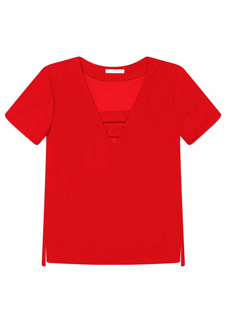 Blusa Decote V Detalhe, , large.