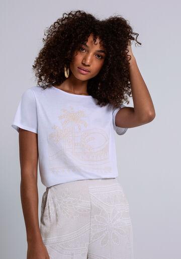 T-Shirt Meia Malha com Bordado, BRANCO, large.