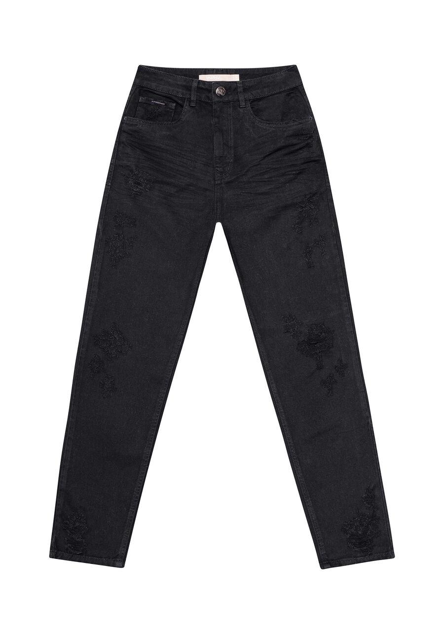 Calça Jeans Mommy, PRETO, large.