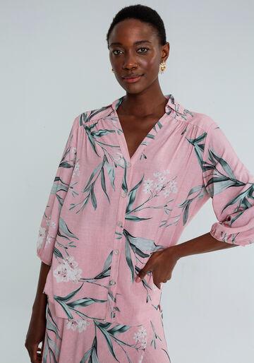 Camisa Manga 3/4 Bufante Estampa, LIRIOS, large.