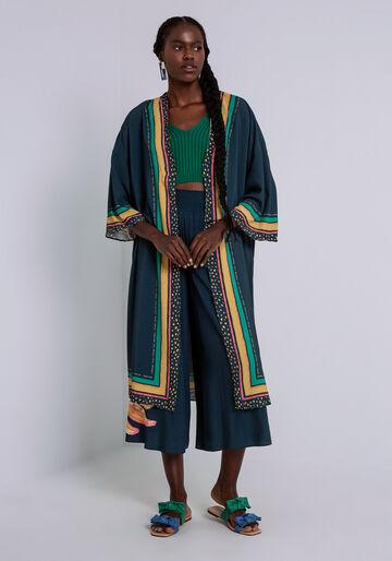 Kimono Longo em Viscose com Mangas 3/4, FRUTA DE PALMA, large.