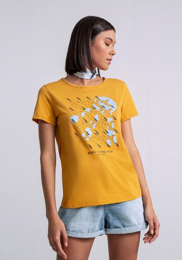 T-shirt Estampada com Faixa, AMARELO, large.