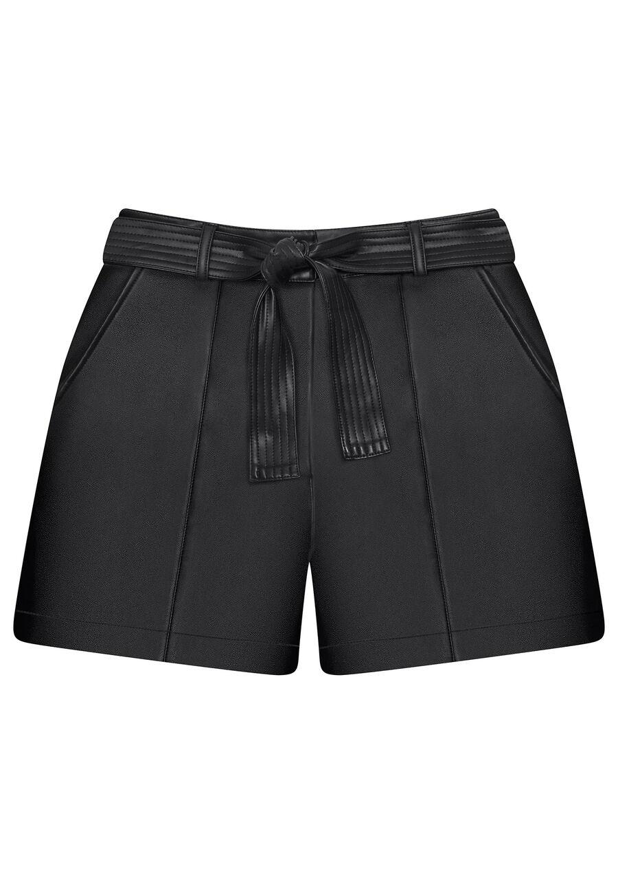 Shorts Cintura Alta Cinto PU, , large.