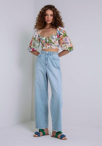 Calça Jeans Wide Leg Cintura Alta, JEANS, large.