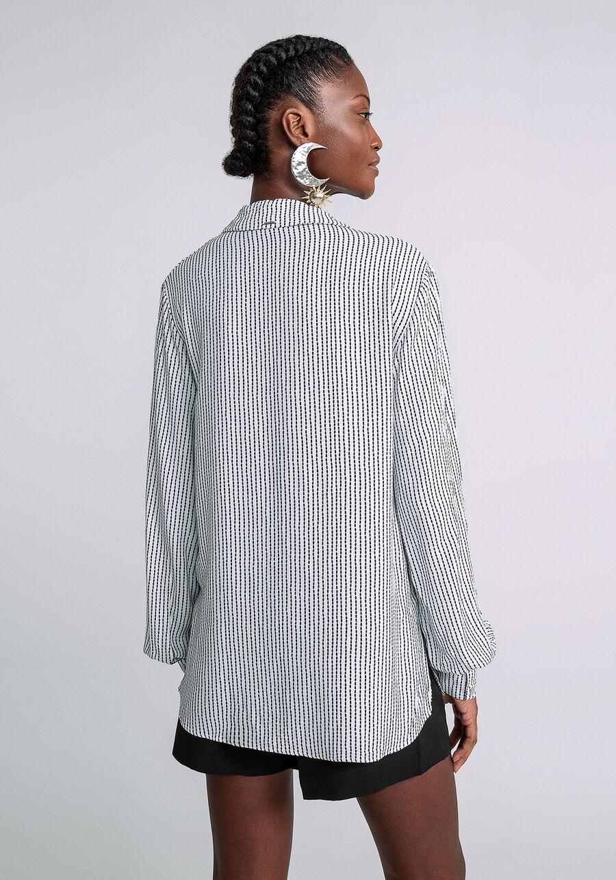 Camisa Manga Longa com Gola Estampada, PESPONTOS, large.