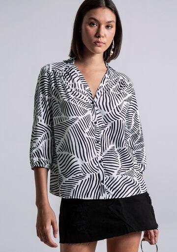 Camisa Manga 3/4 Bufante Estampa, REFLEXOS, large.