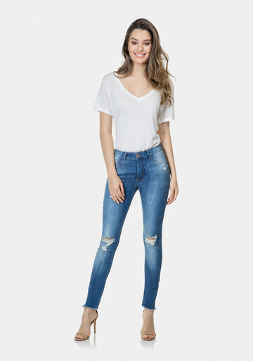 Calça Jeans cropped Flat belly, JEANS, large.