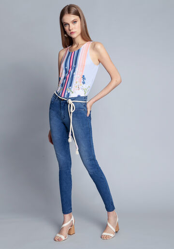 Calça Jeans Com Elastano Cropped Bali, JEANS, large.