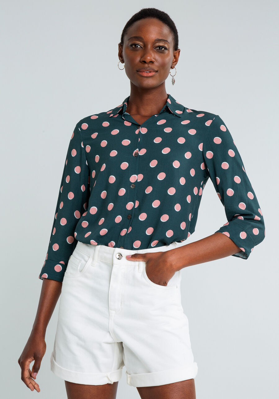 Camisa Manga 3/4 com Gola Estampada, POA, large.