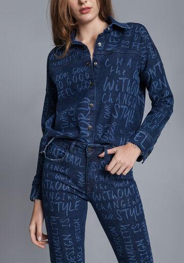 Camisa Manga Longa Mullet, JEANS, large.
