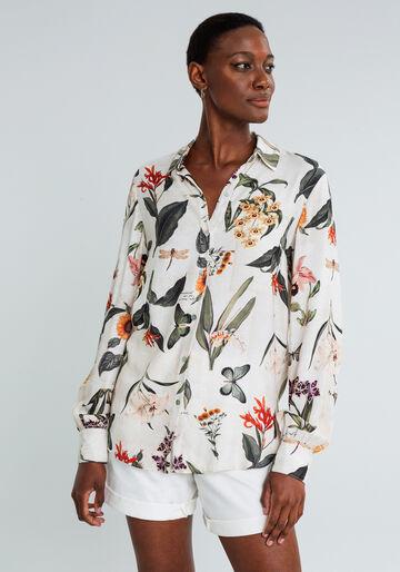Camisa Manga Longa com Gola Estampada, CARTAS, large.