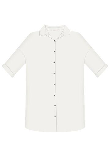 Camisa Manga 3/4 Saída de Praia, BRANCO OFF WHITE, large.