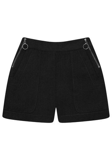 Shorts Cintura Alta Zíper, PRETO, large.