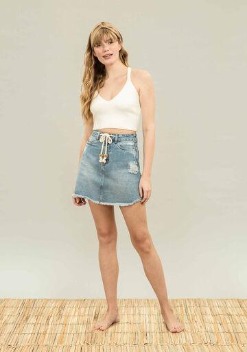 Saia Jeans com Cinto Jeans, JEANS, large.