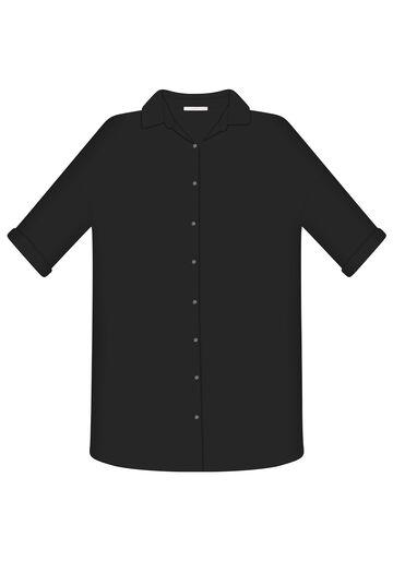 Camisa Manga 3/4 Saída de Praia, PRETO, large.