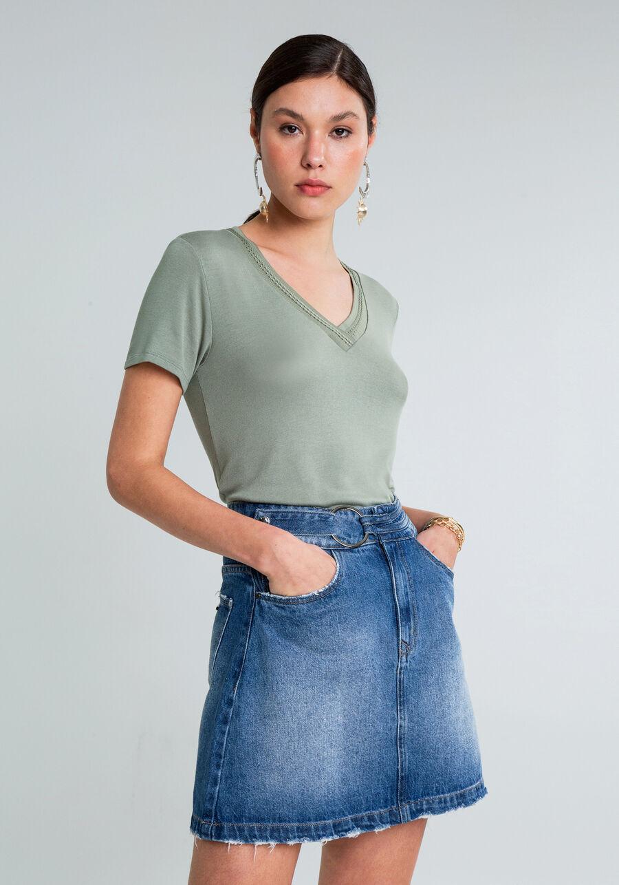 Blusa Decote V Detalhe Trança, VERDE, large.